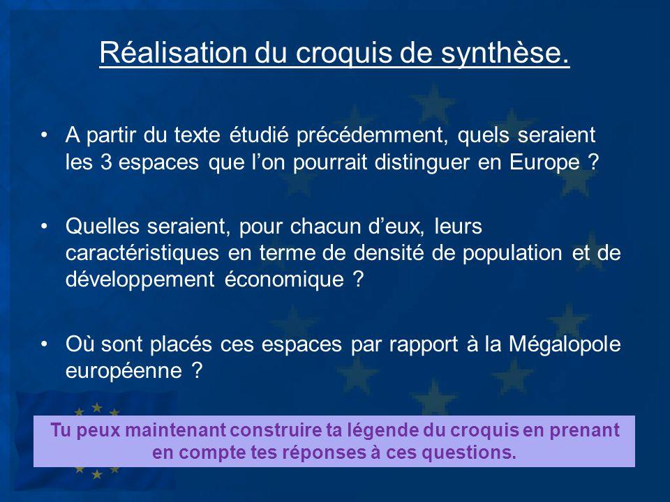 Réalisation du croquis de synthèse. A partir du texte étudié précédemment, quels seraient les 3 espaces que lon pourrait distinguer en Europe ? Quelle