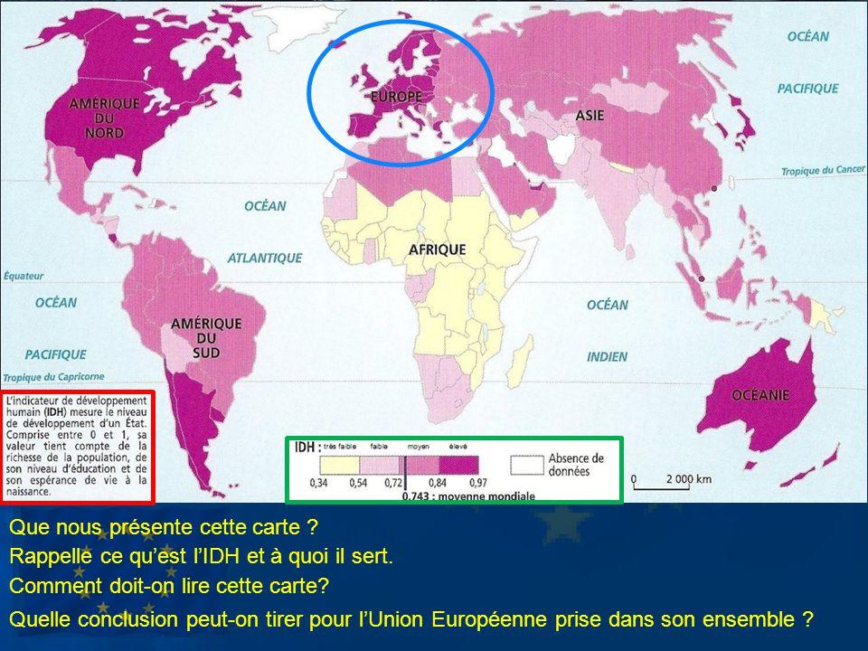 Que nous présente cette carte ? Rappelle ce quest lIDH et à quoi il sert. Comment doit-on lire cette carte? Quelle conclusion peut-on tirer pour lUnio