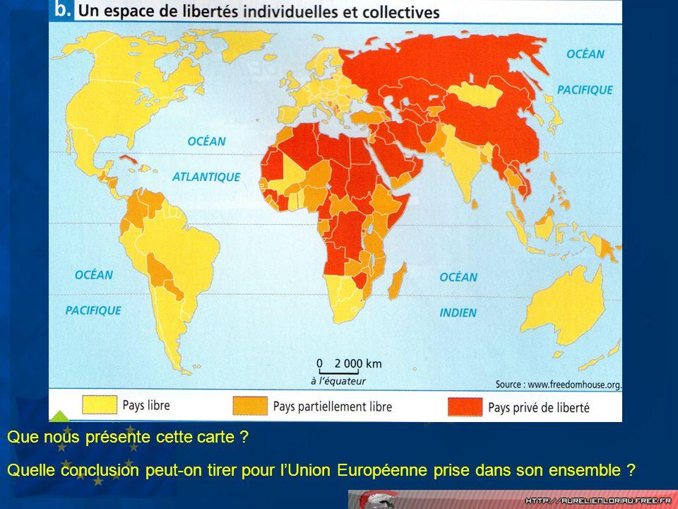 LUnion Européenne, cest… Un espace avec un haut niveau de développement (IDH fort) Un ensemble détats démocratiques dans lesquels les libertés sont nombreuses