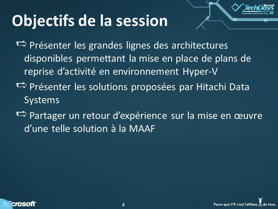 22 Objectifs de la session Présenter les grandes lignes des architectures disponibles permettant la mise en place de plans de reprise dactivité en environnement Hyper-V Présenter les solutions proposées par Hitachi Data Systems Partager un retour dexpérience sur la mise en œuvre dune telle solution à la MAAF