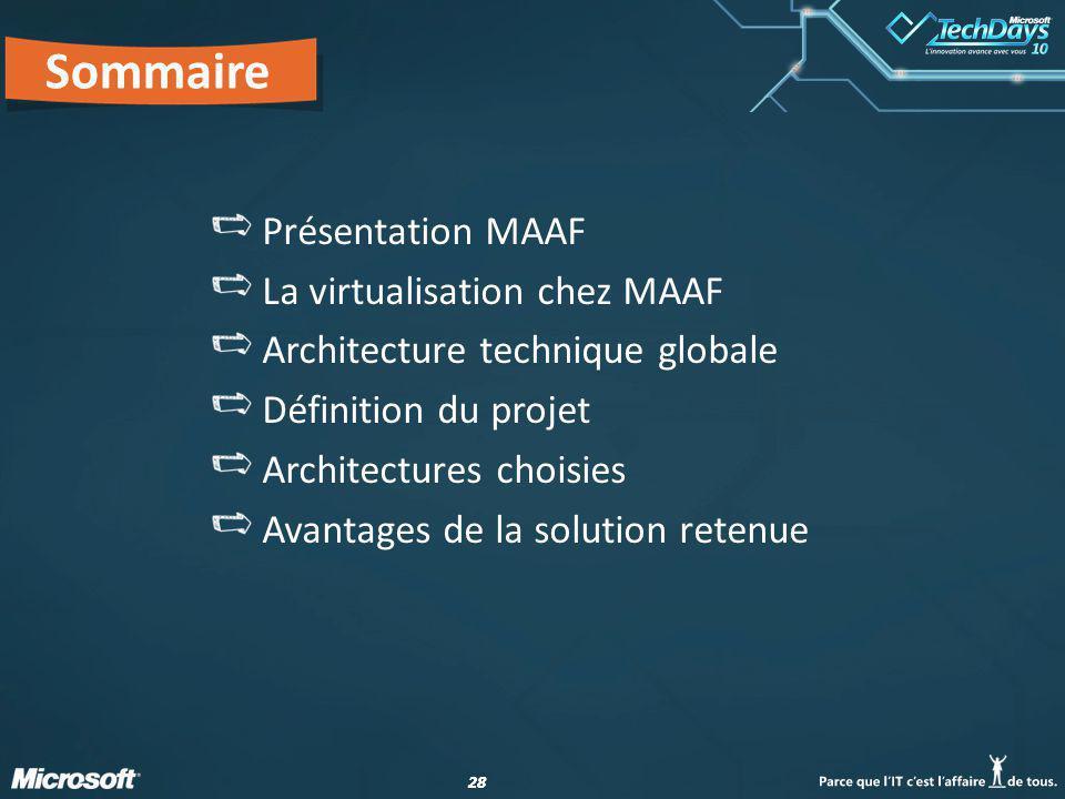 28 Sommaire Présentation MAAF La virtualisation chez MAAF Architecture technique globale Définition du projet Architectures choisies Avantages de la solution retenue
