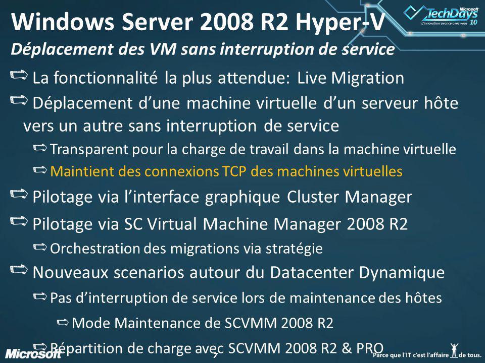 38 Architectures choisies Pour le VDI, 2 clusters locaux composés de 3 nœuds Dell R710 chacun: Bi-pro Quad Core (Nehalem) 72 Go de RAM 2 cartes HBA double port 2 cartes réseau Quad port Windows 2008 R2 Datacenter Hyper-V Utilisation de CSV (1 disque par cluster) HA assurée par le broker VDI
