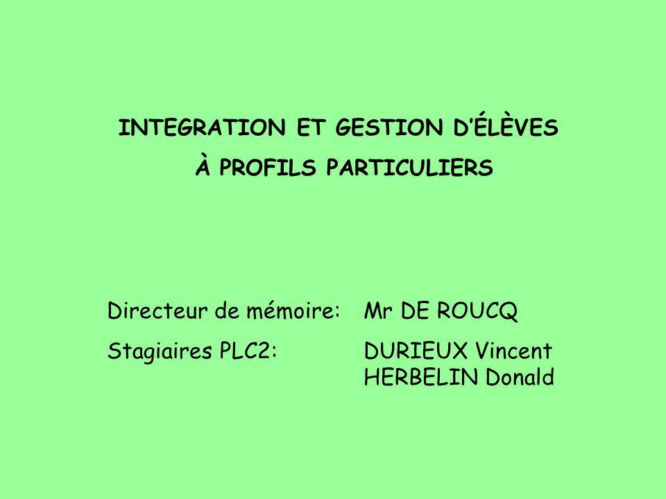 INTEGRATION ET GESTION DÉLÈVES À PROFILS PARTICULIERS Directeur de mémoire: Mr DE ROUCQ Stagiaires PLC2:DURIEUX Vincent HERBELIN Donald
