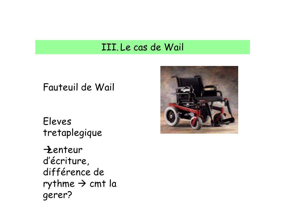 III.Le cas de Wail Fauteuil de Wail Eleves tretaplegique Lenteur décriture, différence de rythme cmt la gerer?