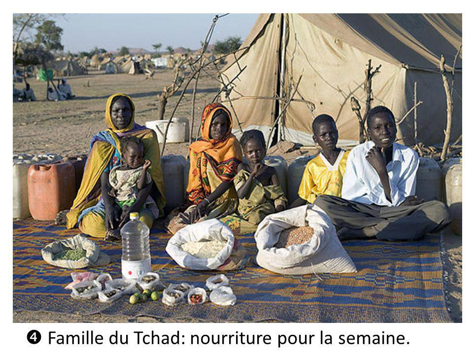 Famille du Tchad: nourriture pour la semaine.