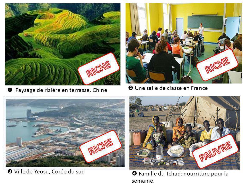Paysage de rizière en terrasse, Chine Ville de Yeosu, Corée du sud Une salle de classe en France Famille du Tchad: nourriture pour la semaine.