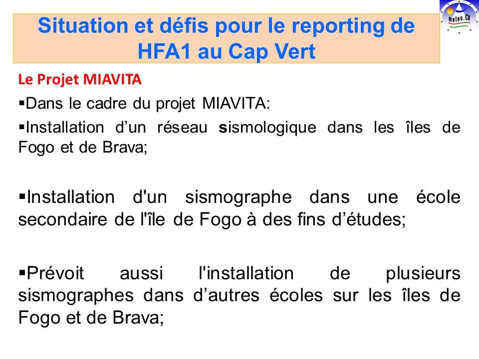 Le Projet MIAVITA Dans le cadre du projet MIAVITA: Installation dun réseau sismologique dans les îles de Fogo et de Brava; Installation d un sismographe dans une école secondaire de l île de Fogo à des fins détudes; Prévoit aussi l installation de plusieurs sismographes dans dautres écoles sur les îles de Fogo et de Brava; Situation et défis pour le reporting de HFA1 au Cap Vert