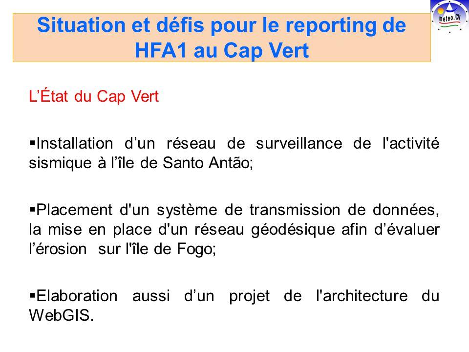LÉtat du Cap Vert Installation dun réseau de surveillance de l activité sismique à lîle de Santo Antão; Placement d un système de transmission de données, la mise en place d un réseau géodésique afin dévaluer lérosion sur l île de Fogo; Elaboration aussi dun projet de l architecture du WebGIS.