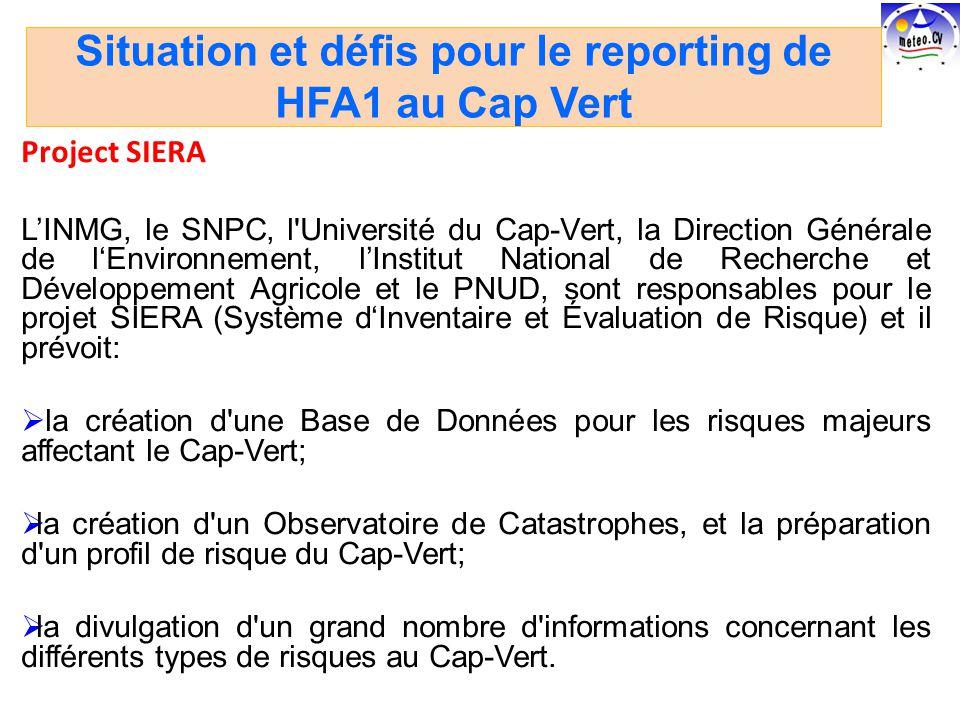 Project SIERA LINMG, le SNPC, l Université du Cap-Vert, la Direction Générale de lEnvironnement, lInstitut National de Recherche et Développement Agricole et le PNUD, sont responsables pour le projet SIERA (Système dInventaire et Évaluation de Risque) et il prévoit: la création d une Base de Données pour les risques majeurs affectant le Cap-Vert; la création d un Observatoire de Catastrophes, et la préparation d un profil de risque du Cap-Vert; la divulgation d un grand nombre d informations concernant les différents types de risques au Cap-Vert.