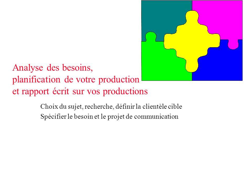 Analyse des besoins, planification de votre production et rapport écrit sur vos productions Choix du sujet, recherche, définir la clientèle cible Spéc