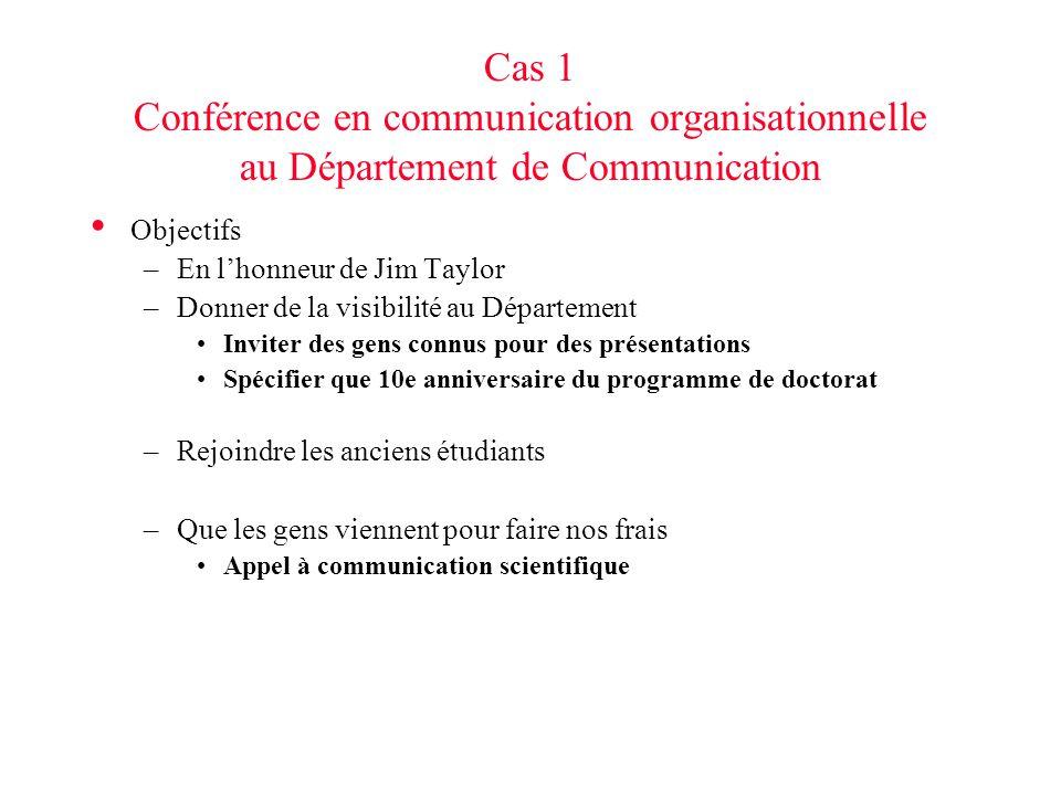 Cas 1 Conférence en communication organisationnelle au Département de Communication Objectifs –En lhonneur de Jim Taylor –Donner de la visibilité au D