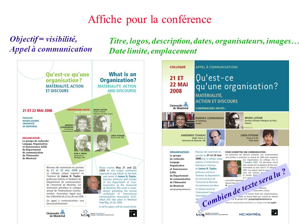 Affiche pour la conférence Titre, logos, description, dates, organisateurs, images… Date limite, emplacement Objectif = visibilité, Appel à communicat