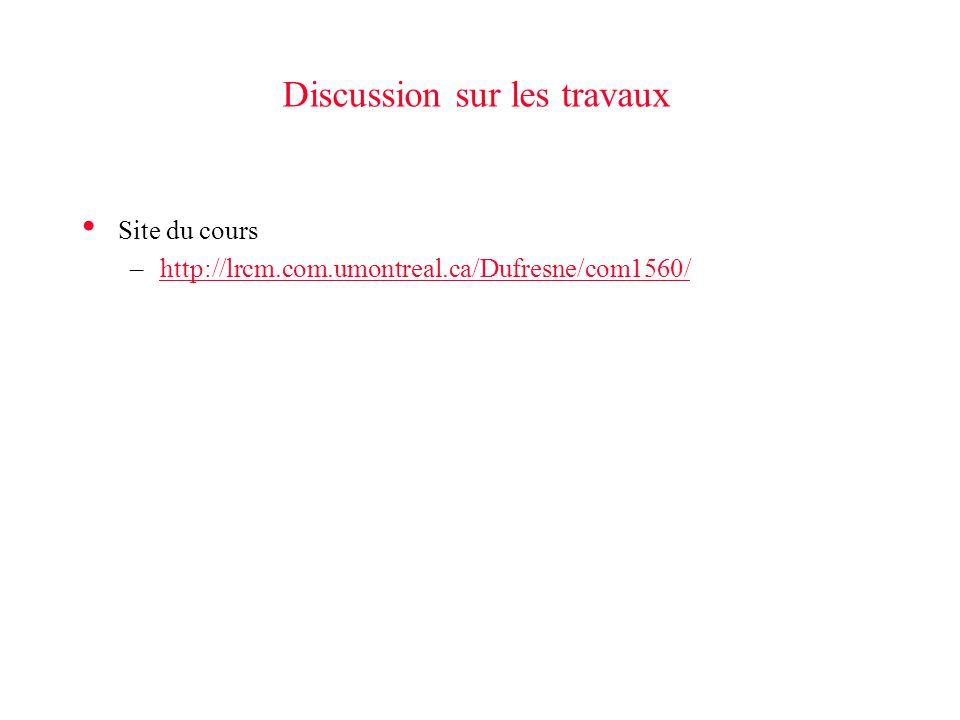 Discussion sur les travaux Site du cours –http://lrcm.com.umontreal.ca/Dufresne/com1560/http://lrcm.com.umontreal.ca/Dufresne/com1560/