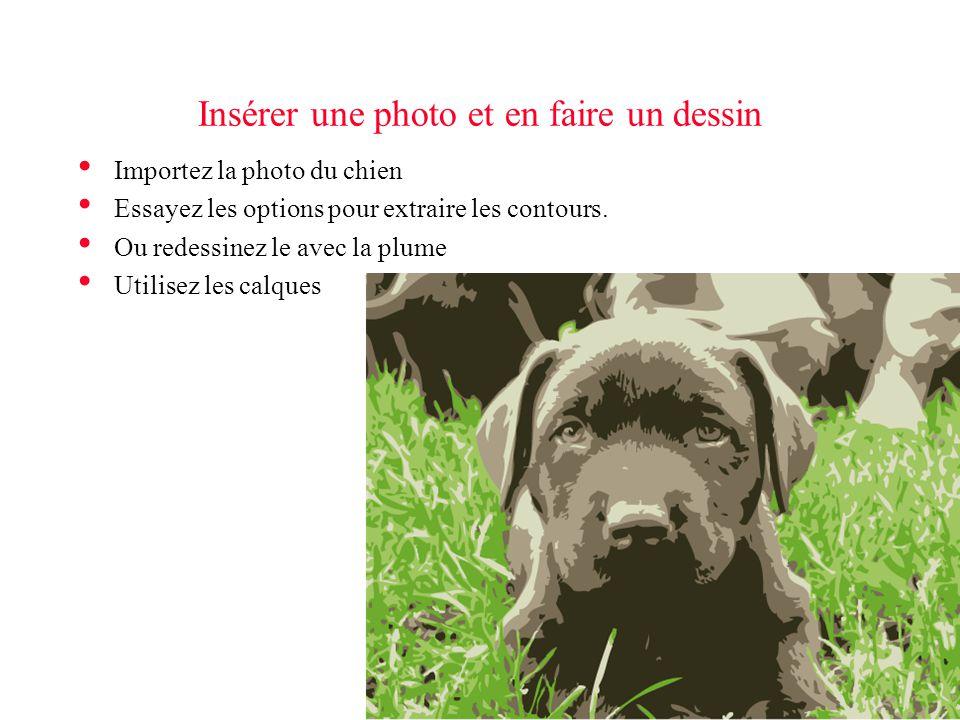 Insérer une photo et en faire un dessin Importez la photo du chien Essayez les options pour extraire les contours. Ou redessinez le avec la plume Util