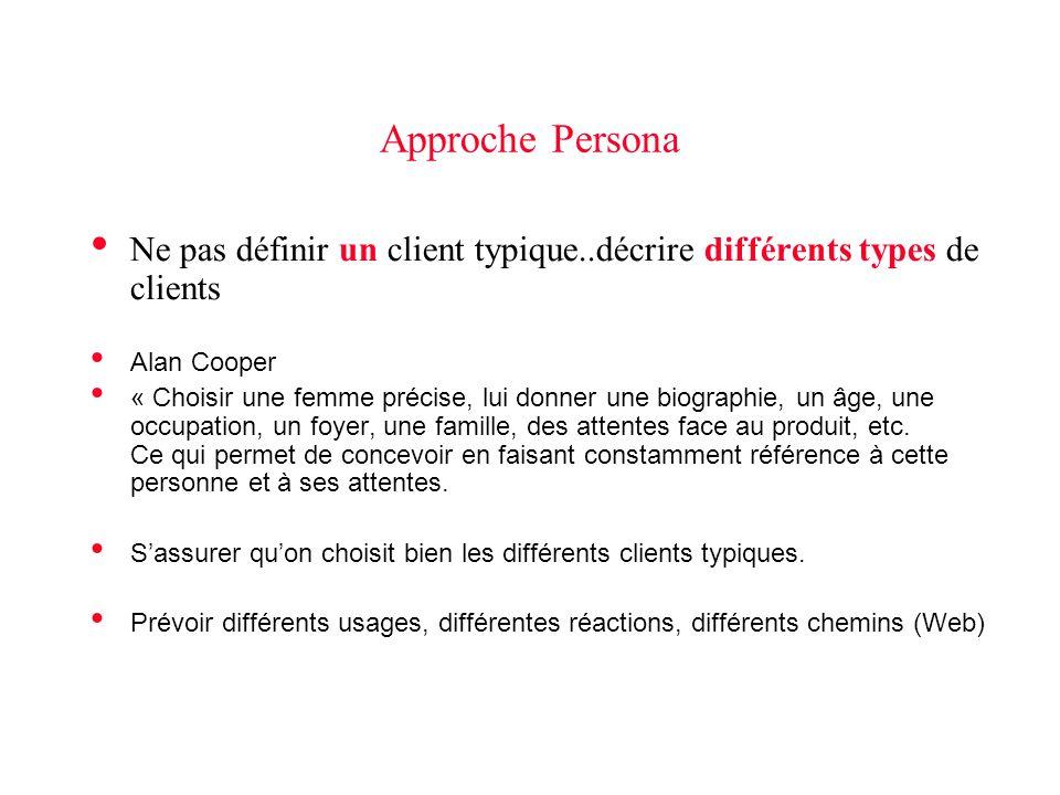 Approche Persona Ne pas définir un client typique..décrire différents types de clients Alan Cooper « Choisir une femme précise, lui donner une biograp