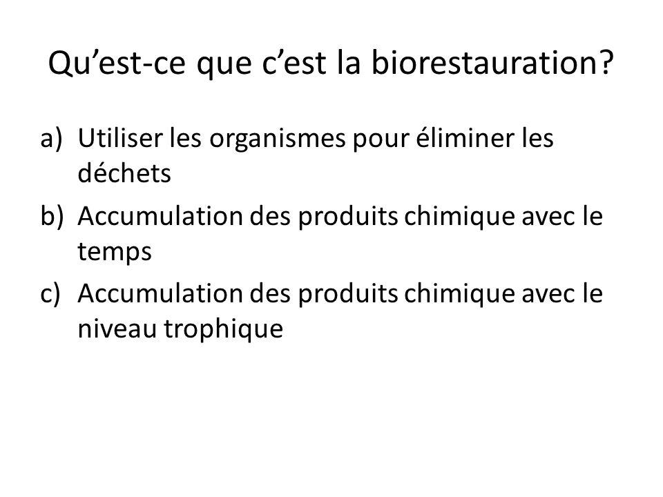 Quest-ce que cest la biorestauration? a)Utiliser les organismes pour éliminer les déchets b)Accumulation des produits chimique avec le temps c)Accumul