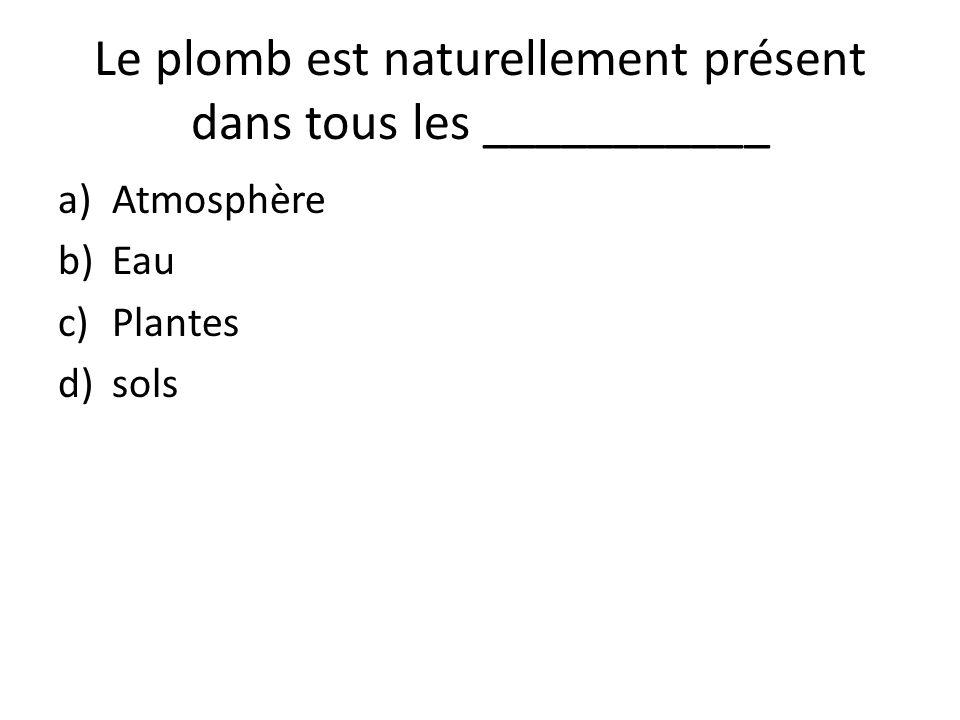 Le plomb est naturellement présent dans tous les ___________ a)Atmosphère b)Eau c)Plantes d)sols
