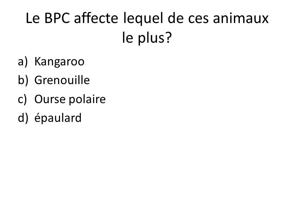 Le BPC affecte lequel de ces animaux le plus? a)Kangaroo b)Grenouille c)Ourse polaire d)épaulard