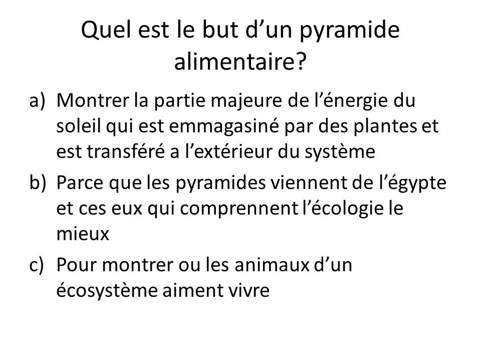 Quel est le but dun pyramide alimentaire? a)Montrer la partie majeure de lénergie du soleil qui est emmagasiné par des plantes et est transféré a lext