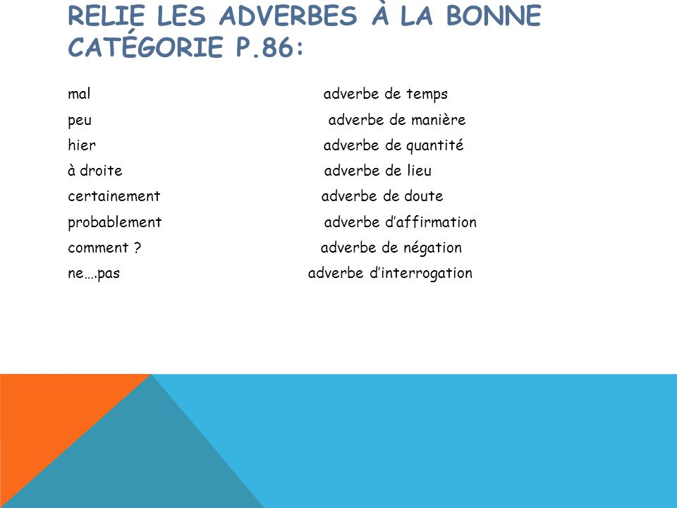 RELIE LES ADVERBES À LA BONNE CATÉGORIE P.86: mal adverbe de temps peu adverbe de manière hier adverbe de quantité à droite adverbe de lieu certaineme