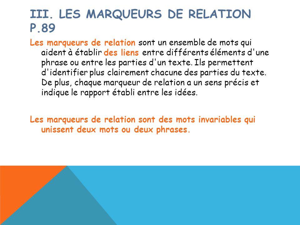 III. LES MARQUEURS DE RELATION P.89 Les marqueurs de relation sont un ensemble de mots qui aident à établir des liens entre différents éléments d'une