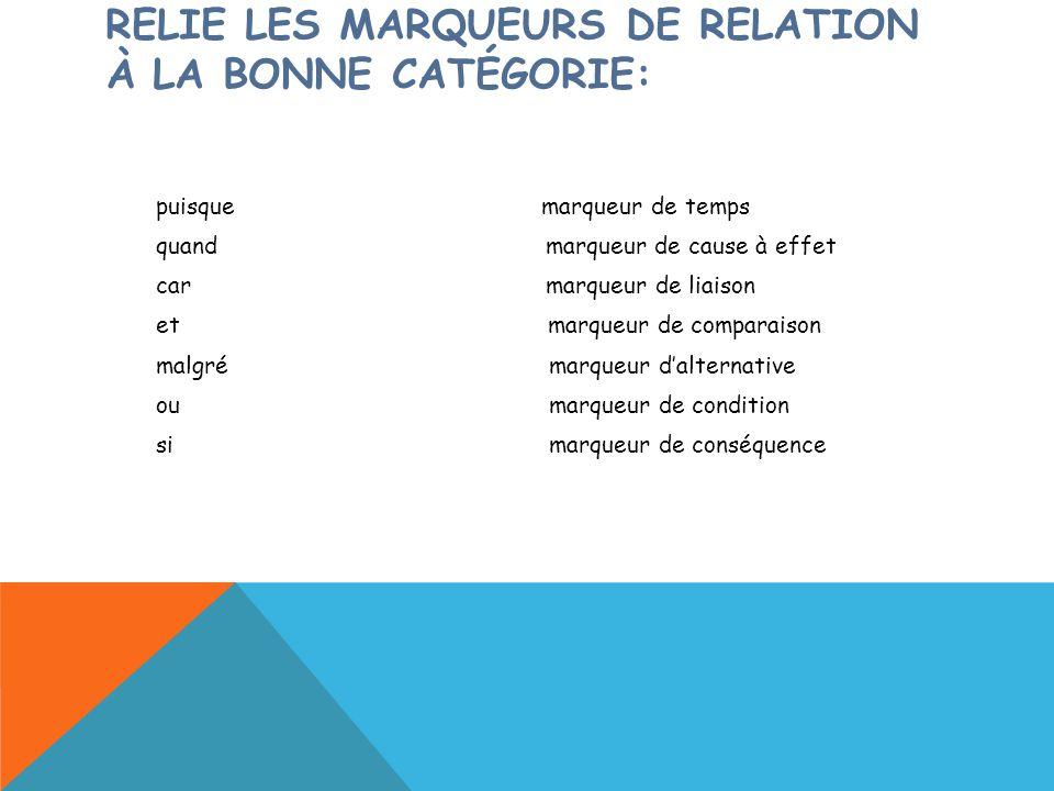 RELIE LES MARQUEURS DE RELATION À LA BONNE CATÉGORIE: puisque marqueur de temps quand marqueur de cause à effet car marqueur de liaison et marqueur de