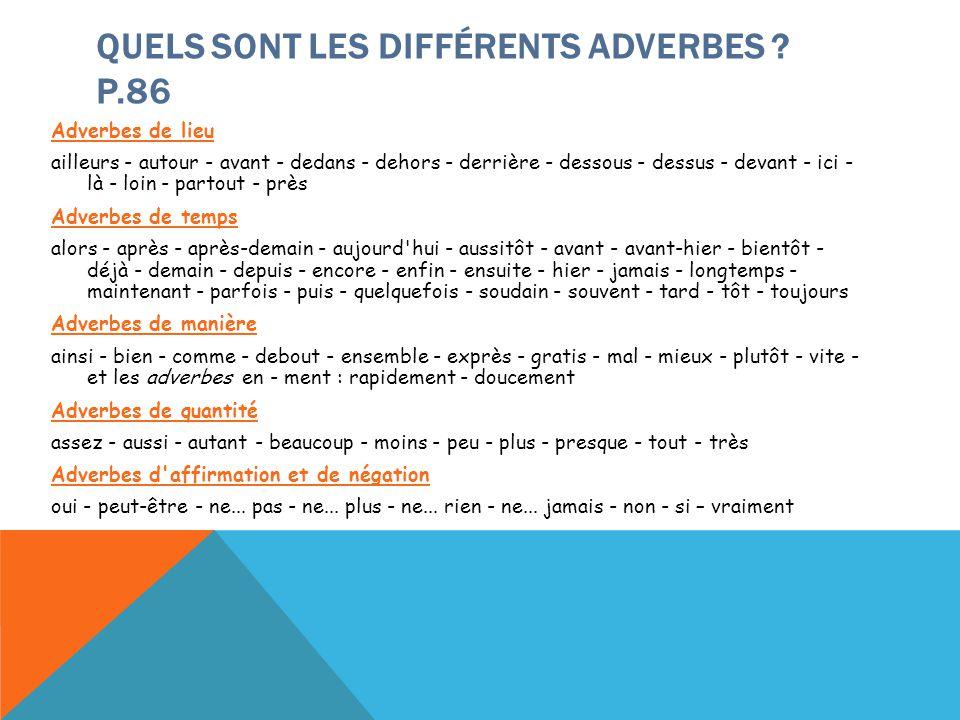 QUELS SONT LES DIFFÉRENTS ADVERBES ? P.86 Adverbes de lieu ailleurs - autour - avant - dedans - dehors - derrière - dessous - dessus - devant - ici -