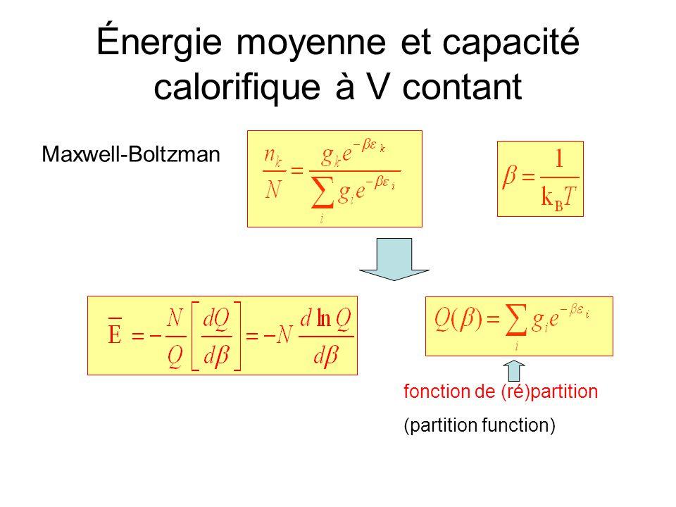 Énergie moyenne et capacité calorifique à V contant Maxwell-Boltzman fonction de (ré)partition (partition function)