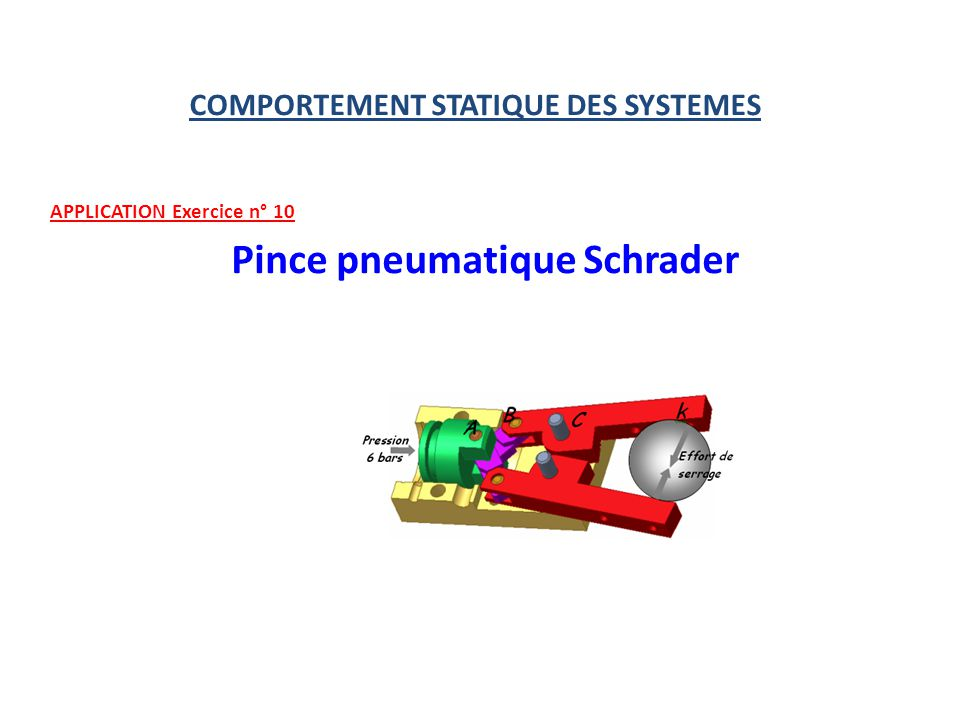 COMPORTEMENT STATIQUE DES SYSTEMES APPLICATION Exercice n° 10 Pince pneumatique Schrader
