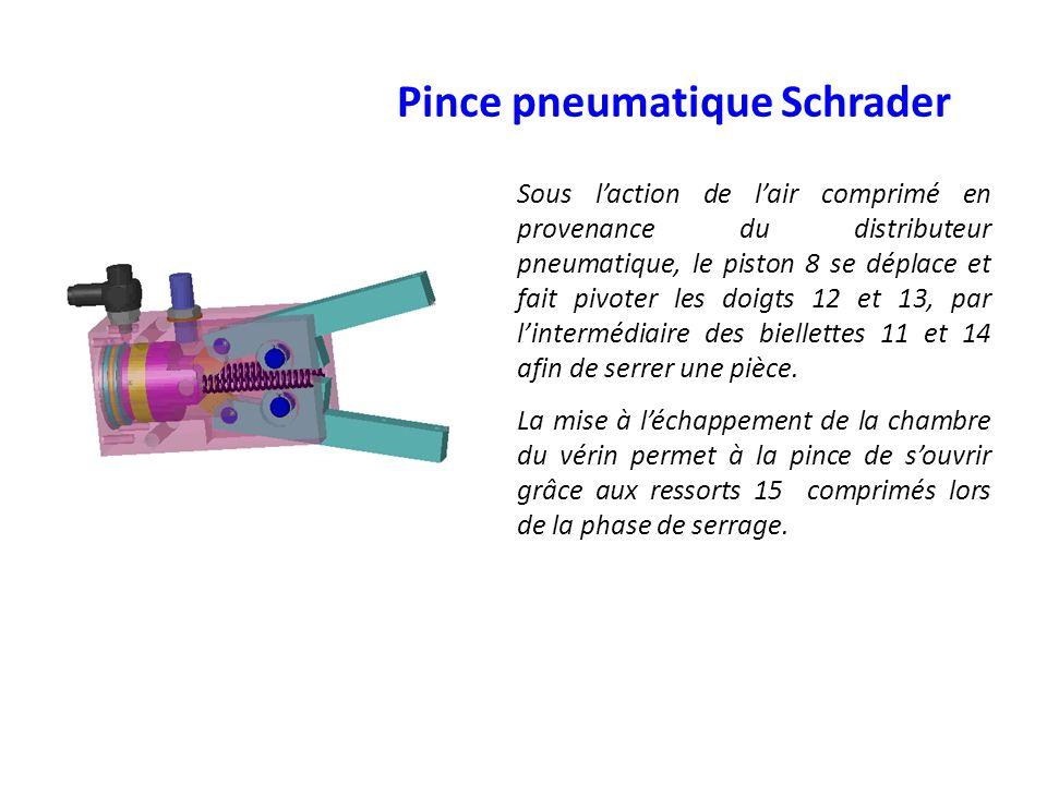 Sous laction de lair comprimé en provenance du distributeur pneumatique, le piston 8 se déplace et fait pivoter les doigts 12 et 13, par lintermédiair