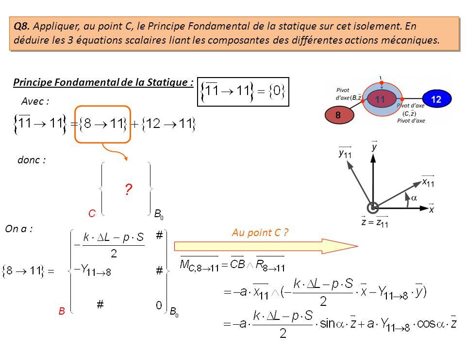 donc : On a : Au point C ? ? Q8. Appliquer, au point C, le Principe Fondamental de la statique sur cet isolement. En déduire les 3 équations scalaires