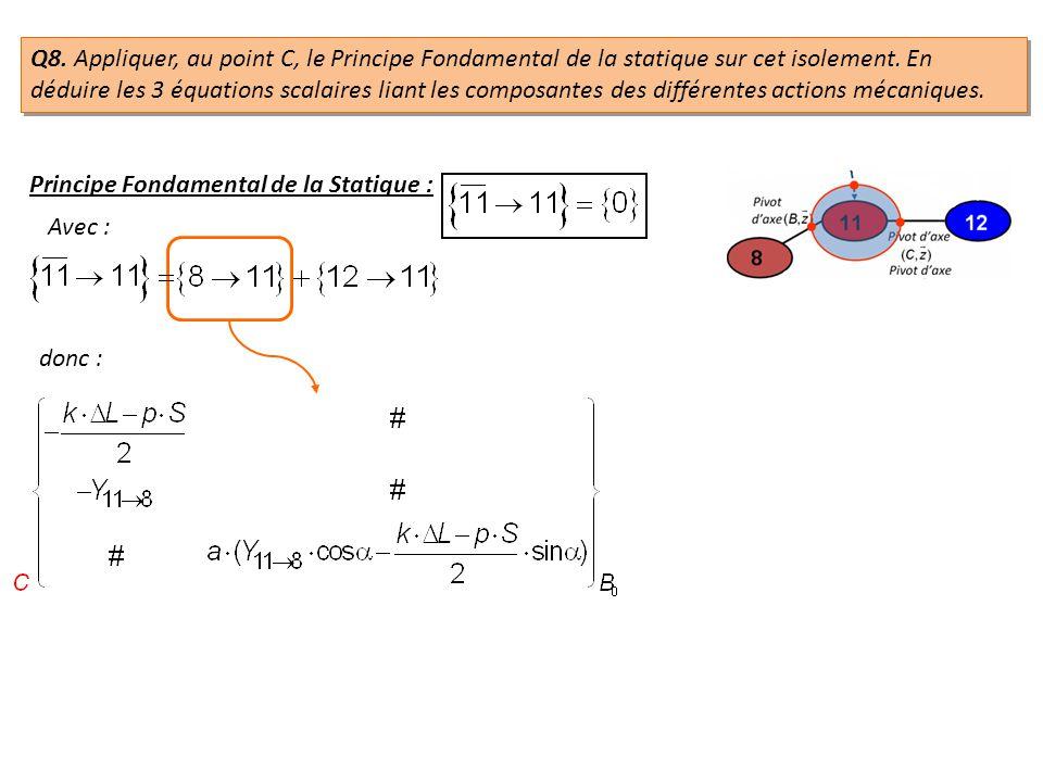 donc : Q8. Appliquer, au point C, le Principe Fondamental de la statique sur cet isolement. En déduire les 3 équations scalaires liant les composantes