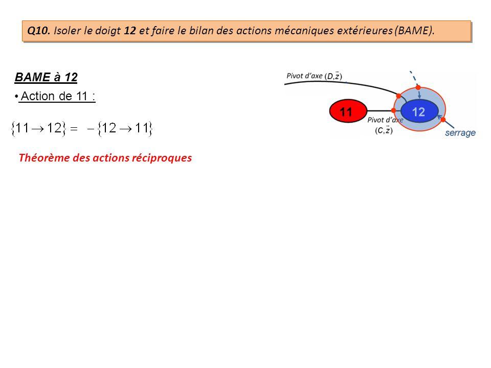 BAME à 12 Action de 11 : Théorème des actions réciproques Q10. Isoler le doigt 12 et faire le bilan des actions mécaniques extérieures (BAME).