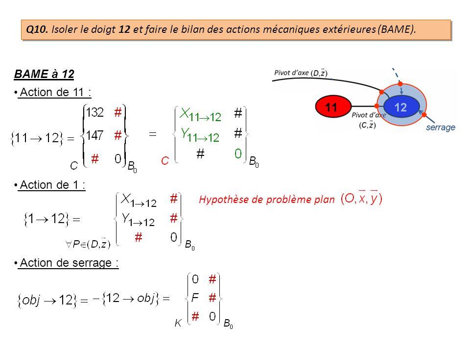 BAME à 12 Action de 11 : Action de 1 : Hypothèse de problème plan Action de serrage : Q10. Isoler le doigt 12 et faire le bilan des actions mécaniques