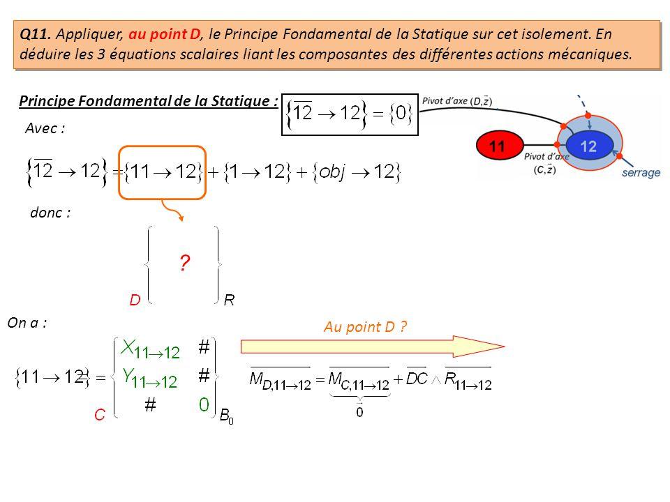 Q11. Appliquer, au point D, le Principe Fondamental de la Statique sur cet isolement. En déduire les 3 équations scalaires liant les composantes des d