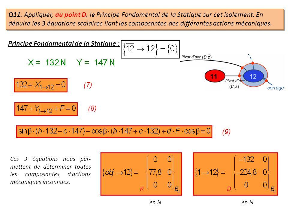 Principe Fondamental de la Statique : (7) (8) (9) Ces 3 équations nous per- mettent de déterminer toutes les composantes dactions mécaniques inconnues