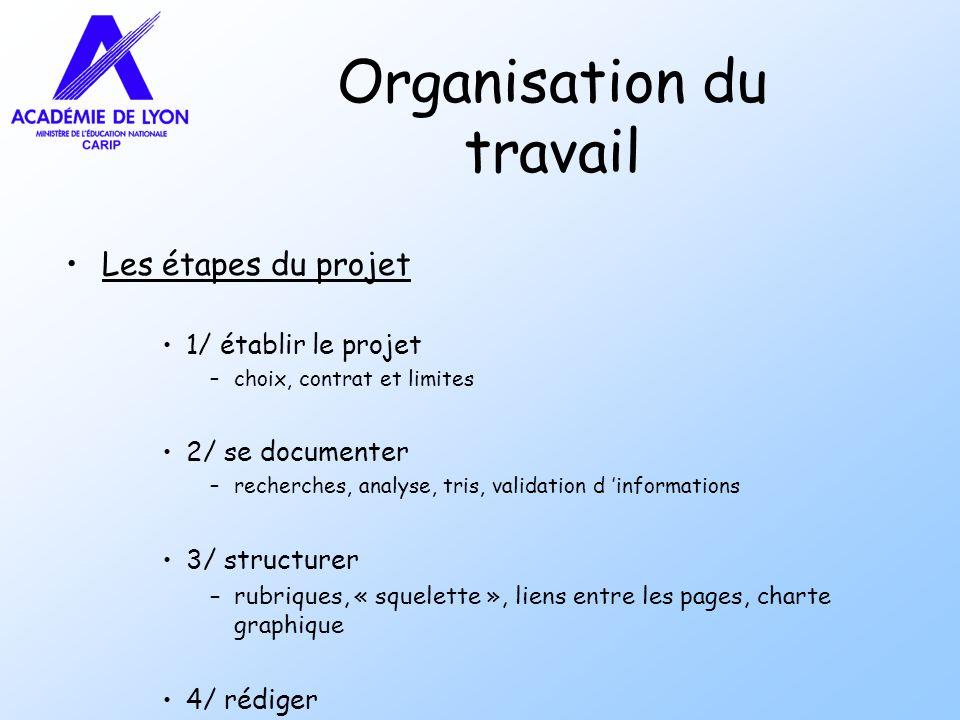 Organisation du travail Les étapes du projet 1/ établir le projet –choix, contrat et limites 2/ se documenter –recherches, analyse, tris, validation d