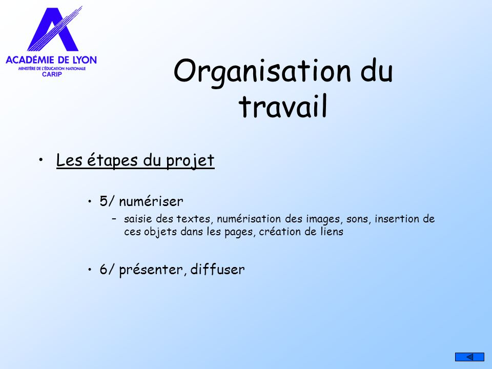 Organisation du travail Les étapes du projet 5/ numériser –saisie des textes, numérisation des images, sons, insertion de ces objets dans les pages, c