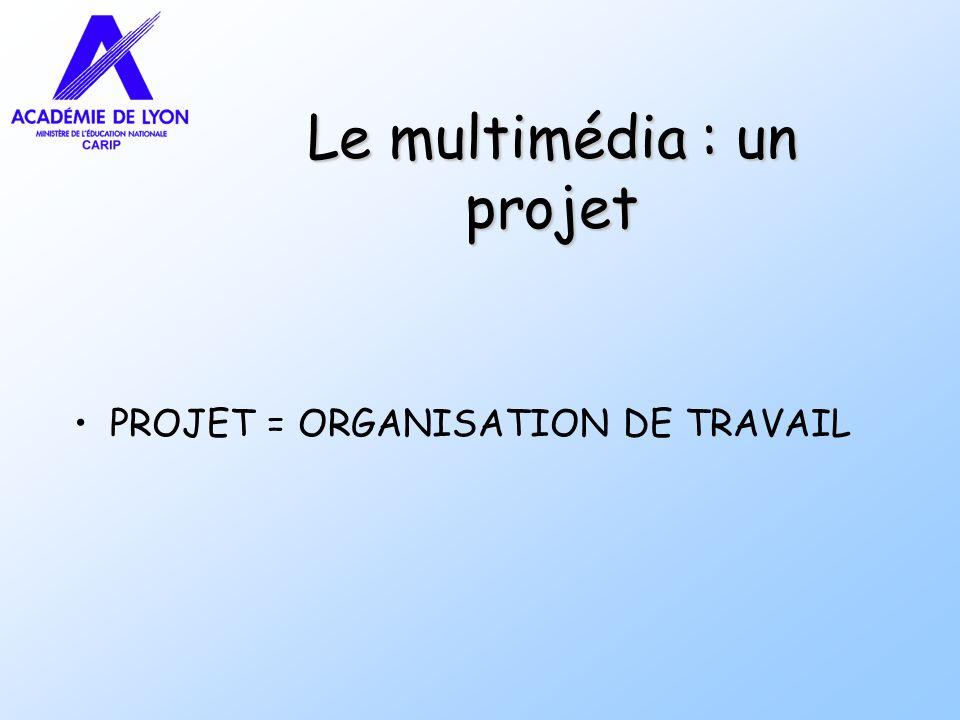 Le multimédia : un projet PROJET = ORGANISATION DE TRAVAIL