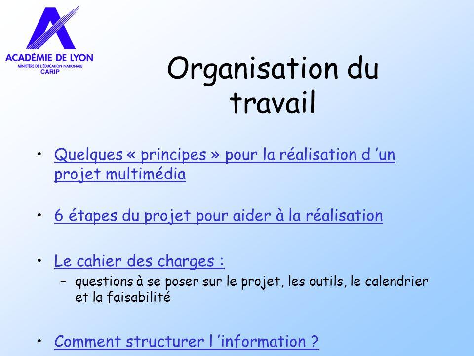 Organisation du travail Quelques « principes » pour la réalisation d un projet multimédiaQuelques « principes » pour la réalisation d un projet multim