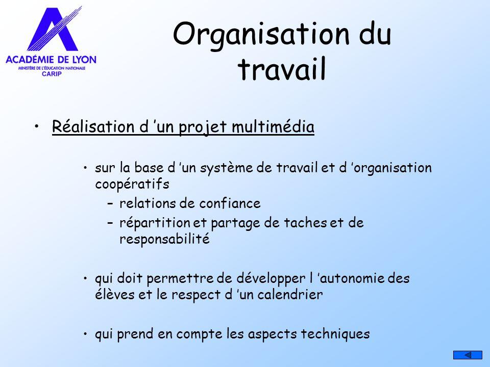 Organisation du travail Réalisation d un projet multimédia sur la base d un système de travail et d organisation coopératifs –relations de confiance –
