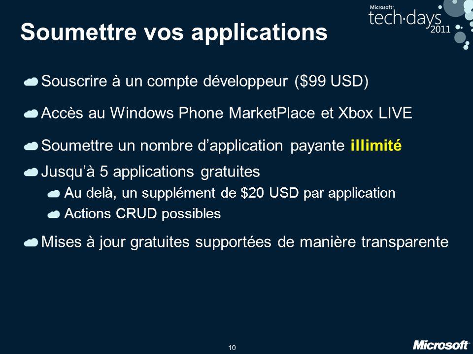 10 Soumettre vos applications Souscrire à un compte développeur ($99 USD) Accès au Windows Phone MarketPlace et Xbox LIVE Soumettre un nombre dapplica