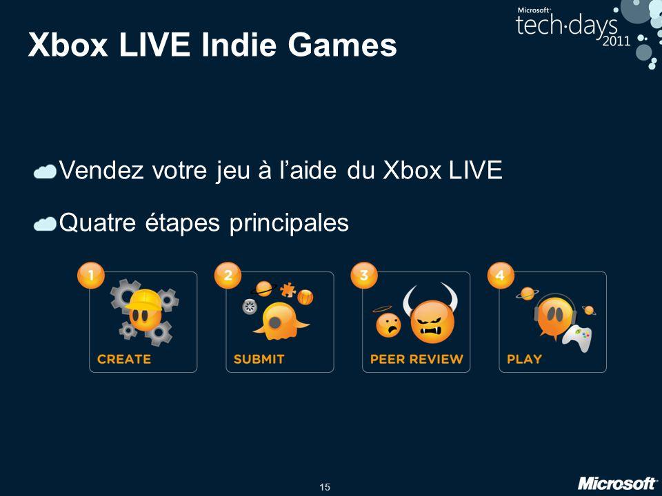 15 Xbox LIVE Indie Games Vendez votre jeu à laide du Xbox LIVE Quatre étapes principales