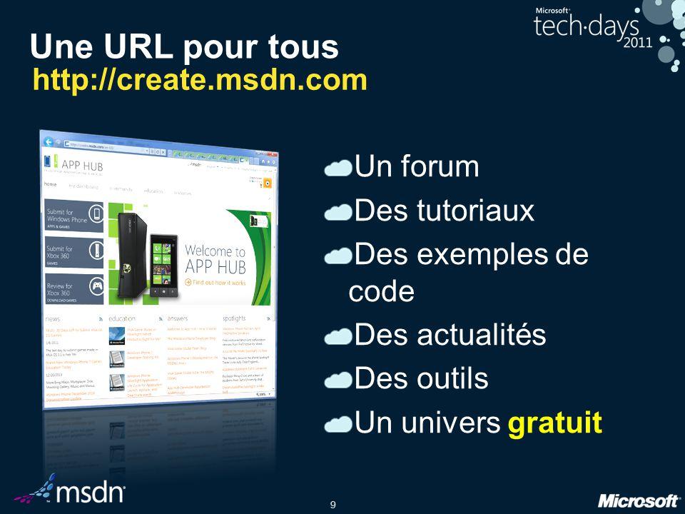 9 Une URL pour tous Un forum Des tutoriaux Des exemples de code Des actualités Des outils Un univers gratuit http://create.msdn.com
