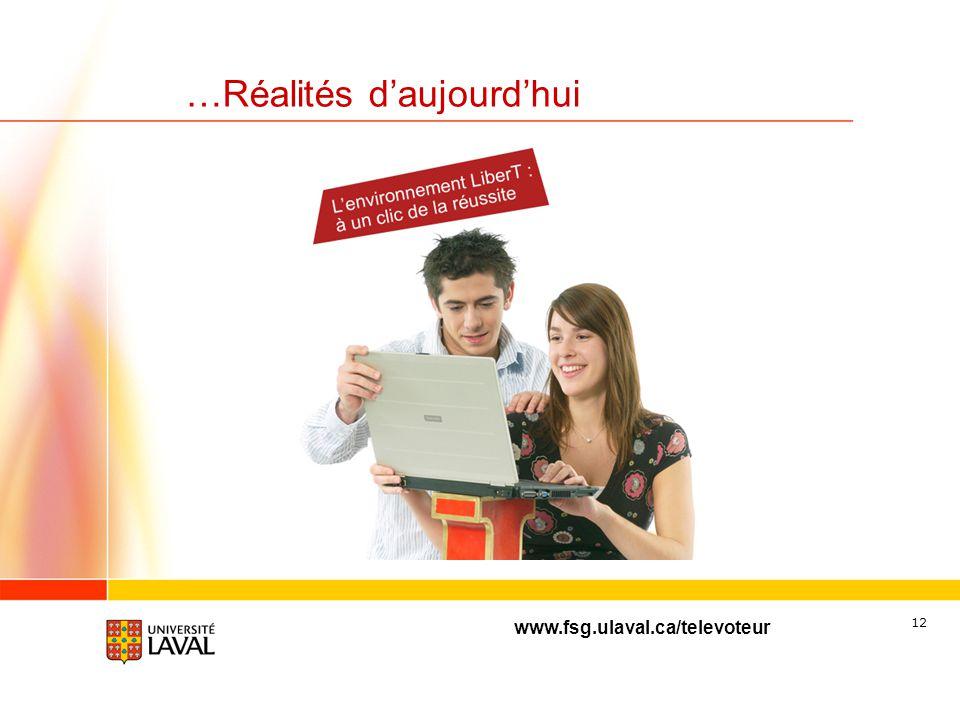 www.fsg.ulaval.ca/televoteur 11 …Réalités daujourdhui