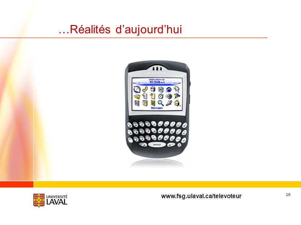 www.fsg.ulaval.ca/televoteur 15 …Réalités daujourdhui