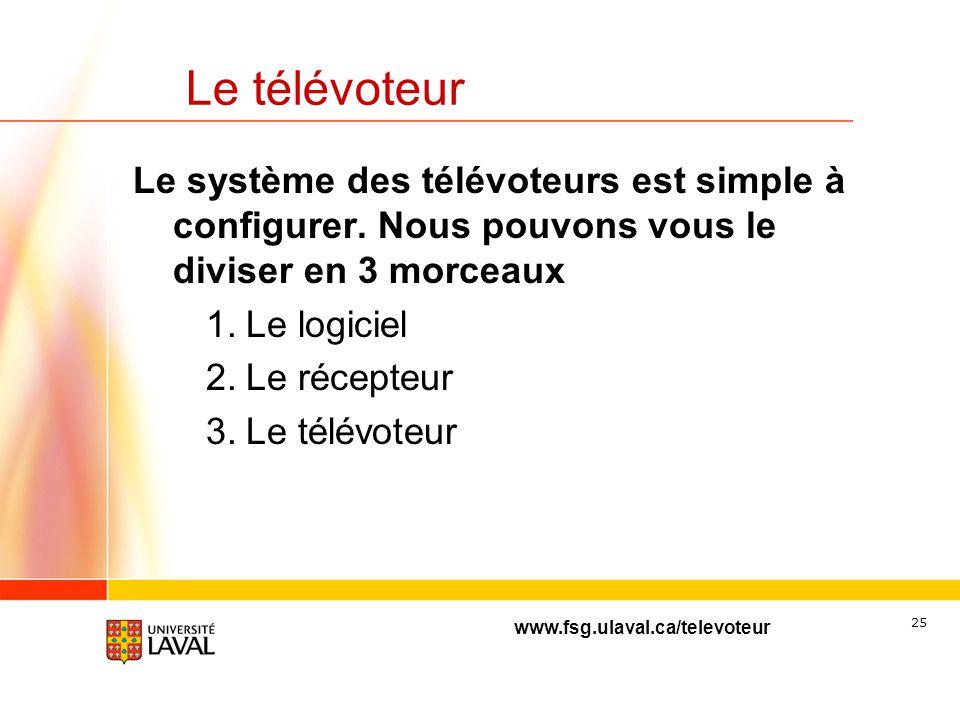 www.fsg.ulaval.ca/televoteur 24 Le télévoteur Deux compagnies se séparent le marché Turning Point (environ 30%) Fonctionne sous PowerPoint uniquement