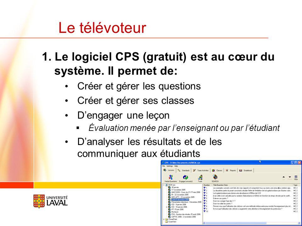www.fsg.ulaval.ca/televoteur 25 Le télévoteur Le système des télévoteurs est simple à configurer. Nous pouvons vous le diviser en 3 morceaux 1.Le logi