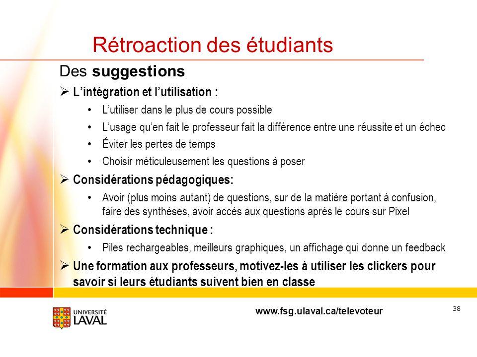 www.fsg.ulaval.ca/televoteur 37 Rétroaction des étudiants Les deux ou trois points à améliorer: ( 104 ) Quelques considérations techniques: ( 60 ) Fon