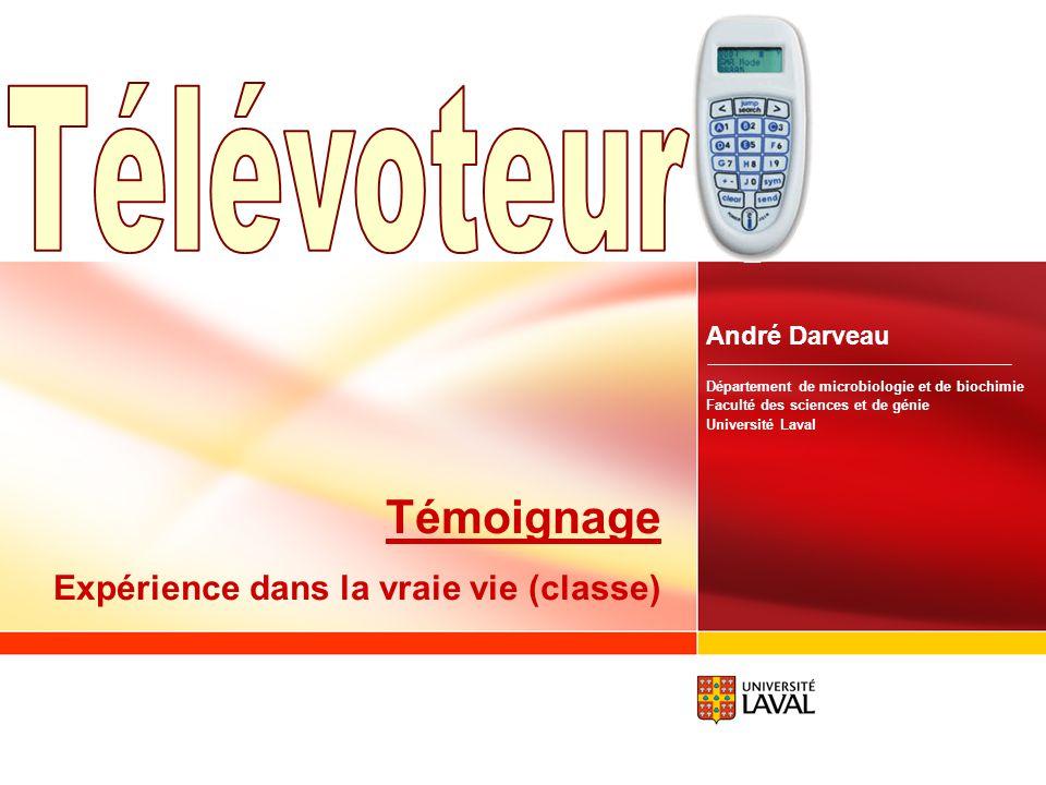 www.fsg.ulaval.ca/televoteur 40 Je recommanderais limplantation généralisée des clickers à la majorité des cours de la Faculté. Cours Utilisation des